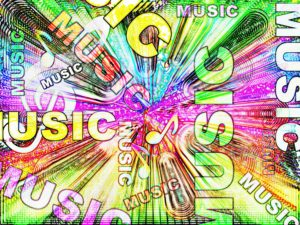 Abstract design of the word music